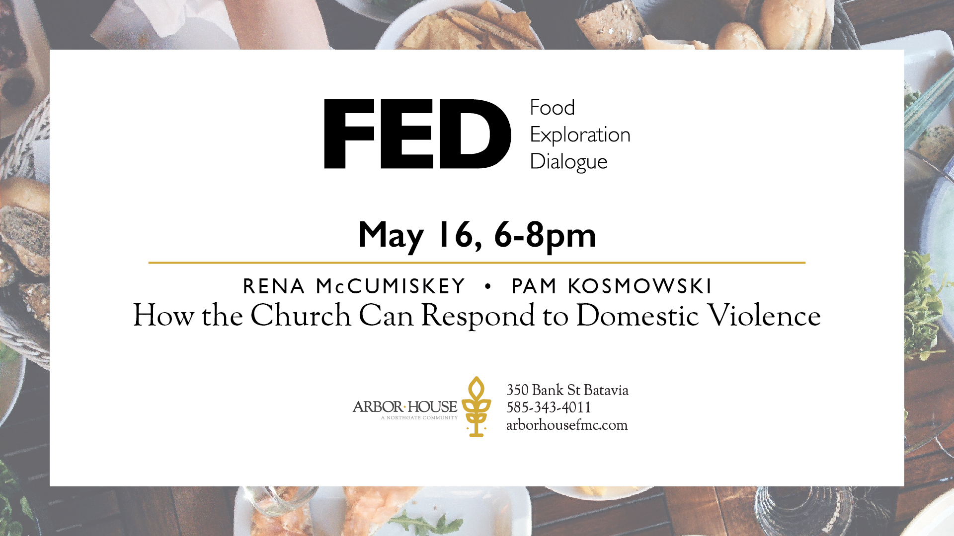 FED Talk May 16 at Arbor House Free Methodist Church